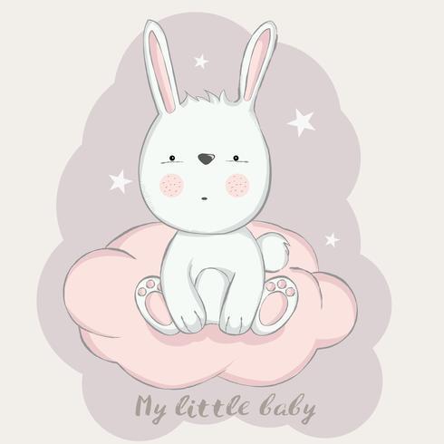 schattig baby konijn met wolk cartoon hand getrokken stijl vector