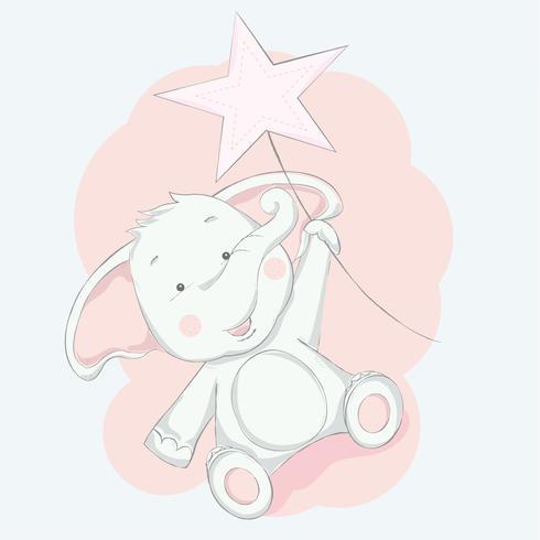 schattige babyolifant met star cartoon hand getrokken style.vector illustratie vector