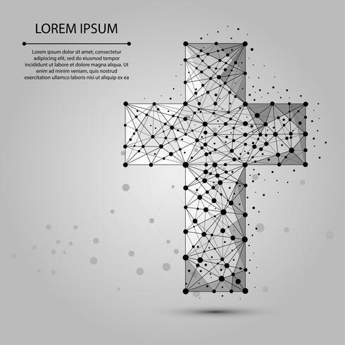 Abstracte brijlijn en punt Christelijk kruis. Vector religie illustratie. Polygonal low poly