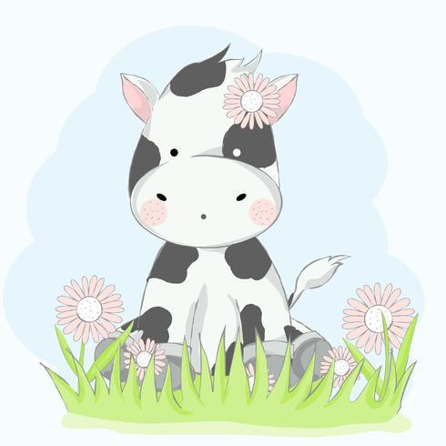 schattige baby koe met bloem cartoon hand getrokken style.vector illustratie vector
