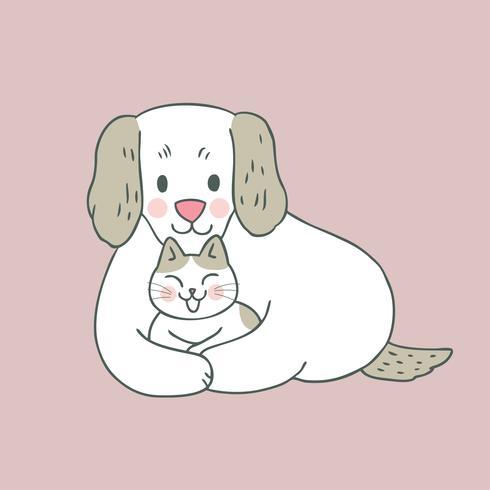 Cartoon schattig zoete kat en hond vector. vector