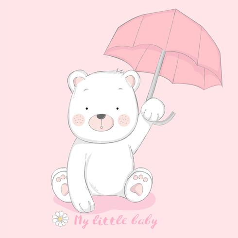 schattige baby beer met paraplu cartoon hand getrokken stijl vector