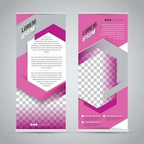 Roze oprolbare banner ontwerpsjabloon vector