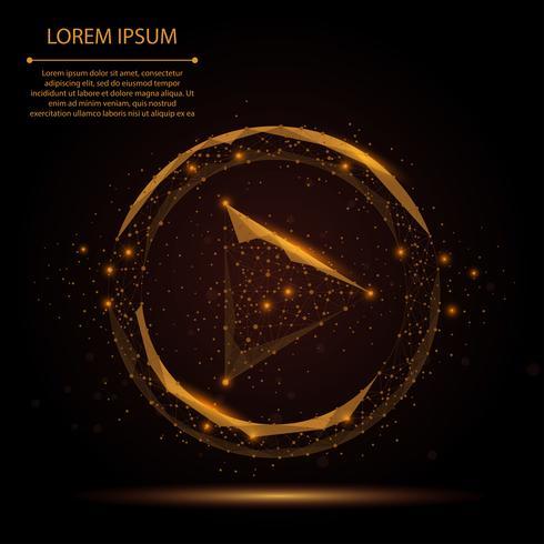 Abstract lijn en puntspel videopictogram op donkere bruine nachthemel met sterren. Veelhoekige laag poly achtergrond met verbindende stippen en lijnen. Vector illustratie verbindingsstructuur.