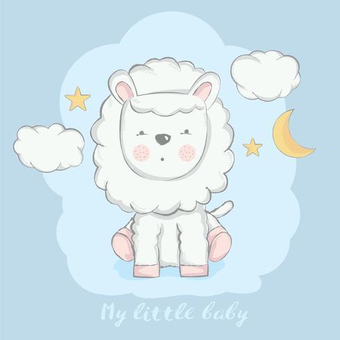 schattige baby schapen met maan cartoon hand getrokken stijl vector