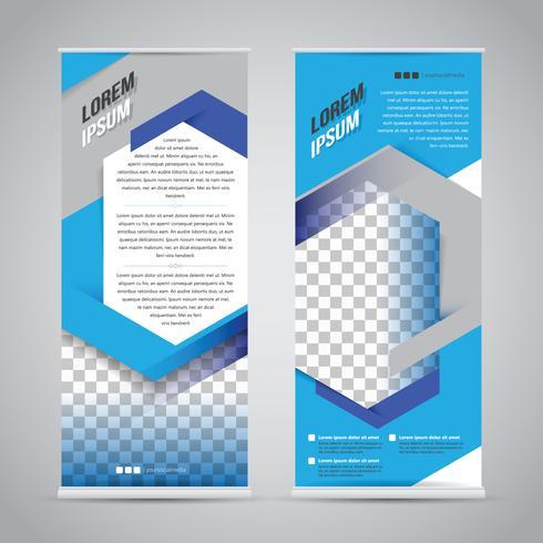 Blauwe oprollen banner stand ontwerpsjabloon vector