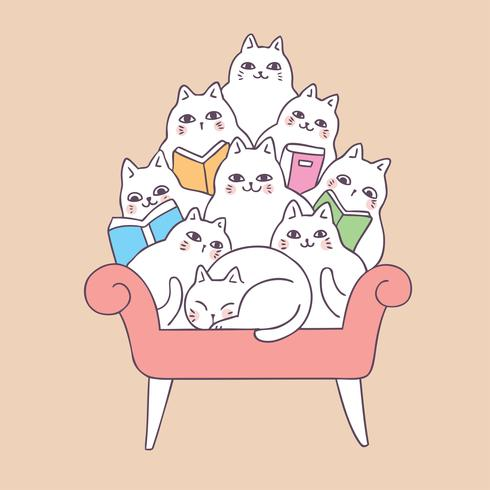 Beeldverhaal leuke katten die op bankvector lezen. vector
