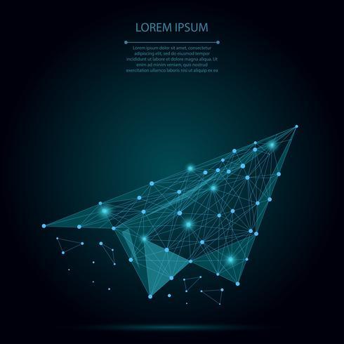 Abstract mash lijn en punt origami vliegtuig. Vector bedrijfsillustratie. Polygonal low poly-vliegtuigen. Verborgen potentieel, motivatie, zakelijk doel en persoonlijke groeiconcept.