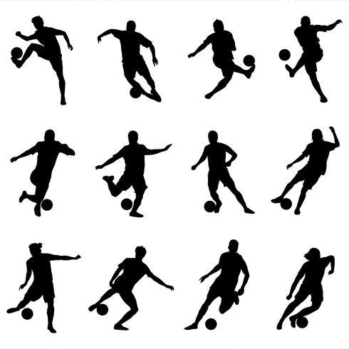 Silhouet voetbalspelerspakket vector
