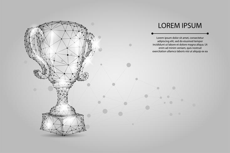 Abstracte veelhoekige trofee beker. Lage poly draadframe vectorillustratie. Kampioenenprijs voor sportoverwinning. Eerste plaats, succes in competitie, viering ceremonie symbool. vector