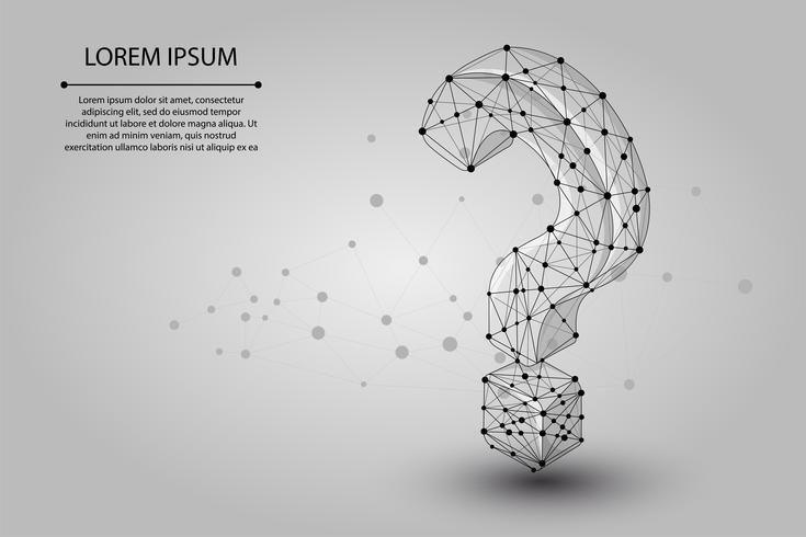 Abstract mash lijn en punt Vraagteken. Vector bedrijfsillustratie. Polygonal low poly