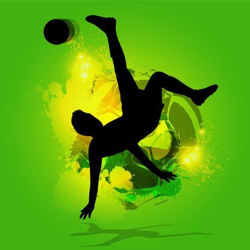 silhouet voetbalspeler overhead schop vector