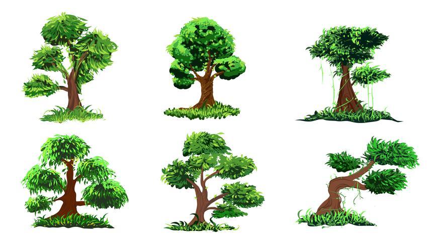 Hand tekenen boom ingesteld vector