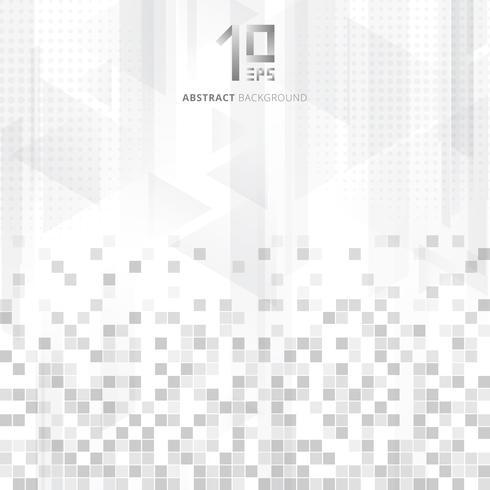 Abstracte technologie geometrische gegevens vierkanten patroon driehoeken overlay kleurovergang grijze kleur op witte achtergrond. vector
