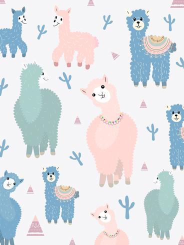 Lama en Cactus Clipart-bundel, geen drama Lama's grafische set. vector