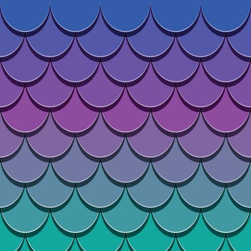 Zeemeermin staartpatroon. Papier uitgesneden 3d vis huid achtergrond. Heldere spectrumkleuren. vector