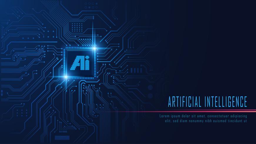 AI-chipset op printplaat vector