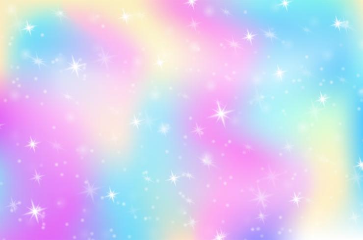 Fantasie Regenboog Hologram Achtergrond De wereld van de prinses In de regenbooghemel met fonkelende sterren. vector