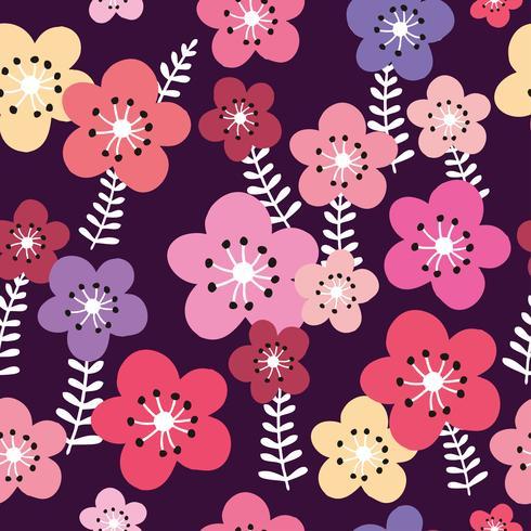 Roze bloemen en donkere achtergrond naadloze patroonvector. vector