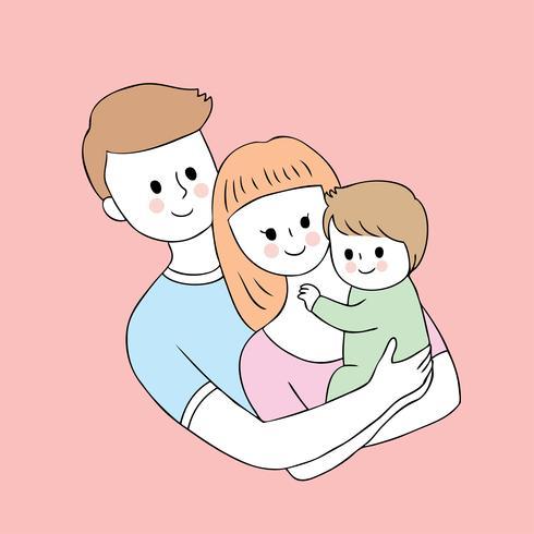 Cartoon schattige ouders en baby vector. vector