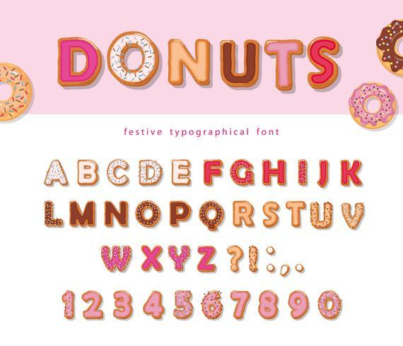 Donuts hand getekende decoratieve lettertype. Cartoon zoete letters en cijfers. Leuk ontwerp voor meisjes. Verjaardag feestje. vector