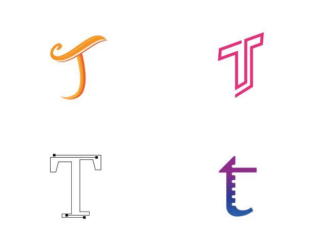 T-brievenembleem en symbolenmalplaatjepictogrammenapp vector