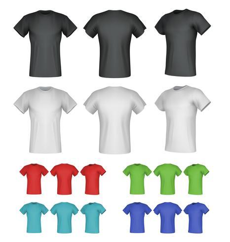 Effen mannelijke t-shirt sjablonen. Geïsoleerde achtergrond. Achter-, voorkant-, zijaanzichten. vector