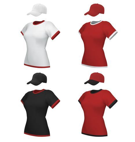 Vrouwelijke lege eenvormige polo en honkbal GLB malplaatjereeks die op wit wordt geïsoleerd vector