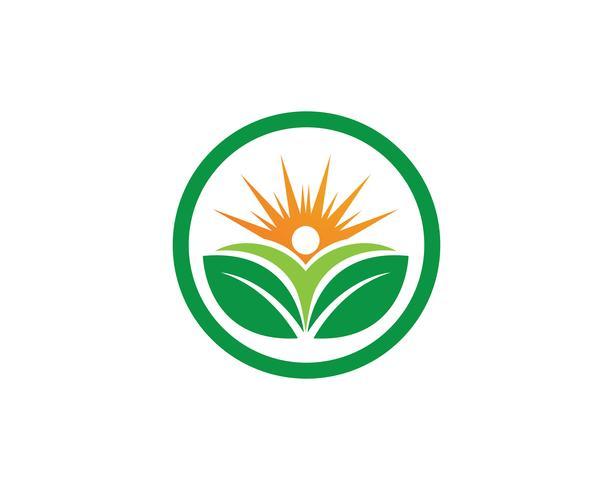 Mensen geven en zon natuur therapie vector logo