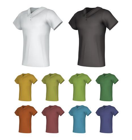 Effen mannelijke polo shirt sjabloon set. vector