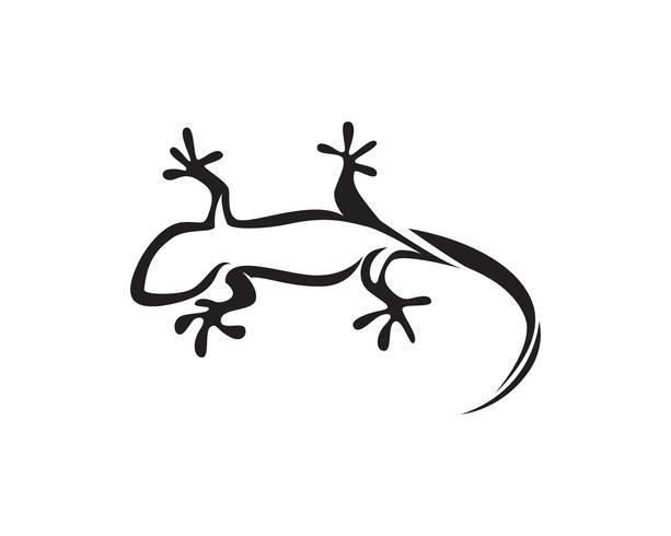 Hagedis Kameleon Gecko Silhouet zwart vector zwart