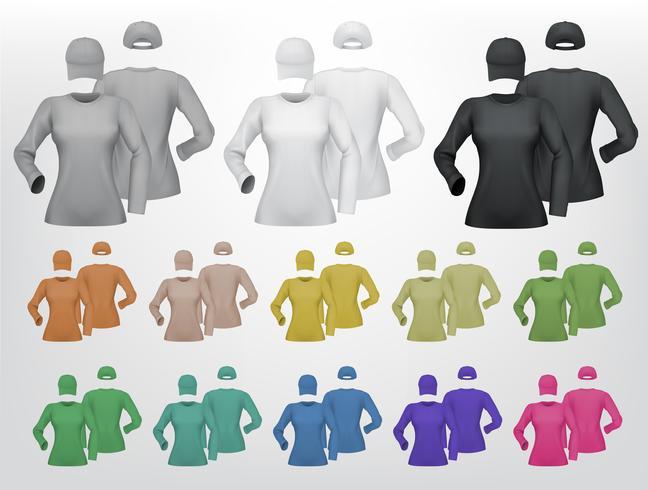 Effen vrouwelijke lange mouwen shirt sjabloon op witte achtergrond. vector