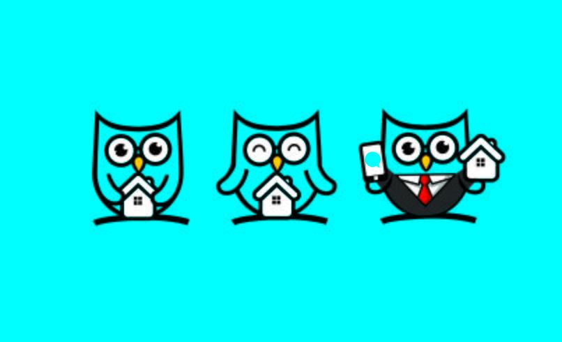 Schattig Owl Home mascotte karakter vector