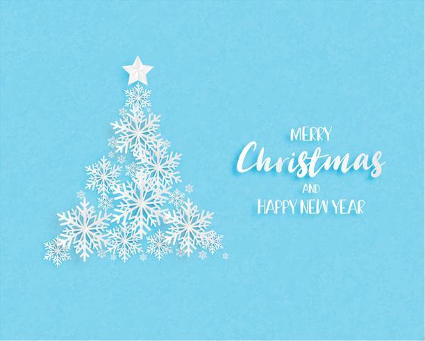 Kerstboom gemaakt door origami sneeuwvlokken op blauwe achtergrond. Digitaal handwerk in papierstijl. Vector illustratie.