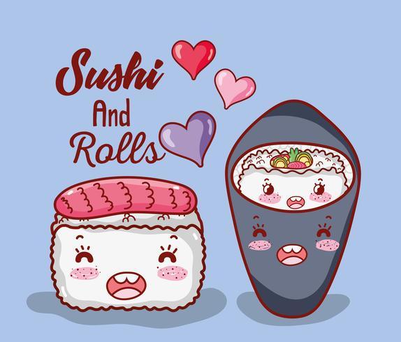 Sushi en rollen leuke kawaii cartoons vector
