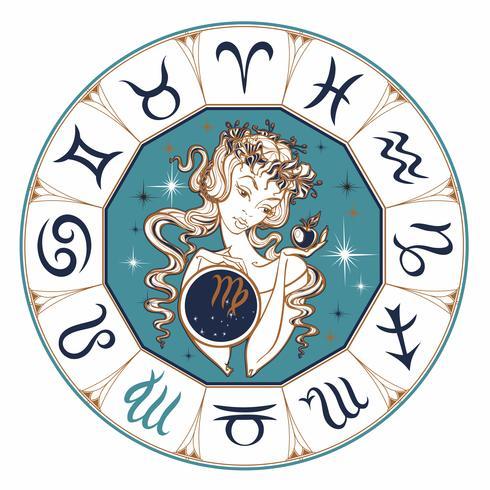 Sterrenbeeld Maagd, een mooi meisje. Horoscoop. Astrologie. Vector. vector