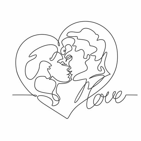 Doorlopende lijntekening - een paar kusjes. Van man en vrouw houden. Hart. Liefde. Valentijn kaart. Vector. vector