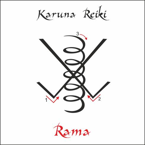Karuna Reiki. Energie genezing. Alternatief medicijn. Rama-symbool. Spirituele oefening. Esoteric. Vector