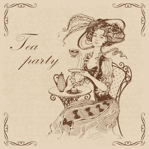 Prachtige vintage dame. Tea party.Inscription. Meisje in een hoed die thee drinkt. Gravure. Graphics. Bruin. Vector