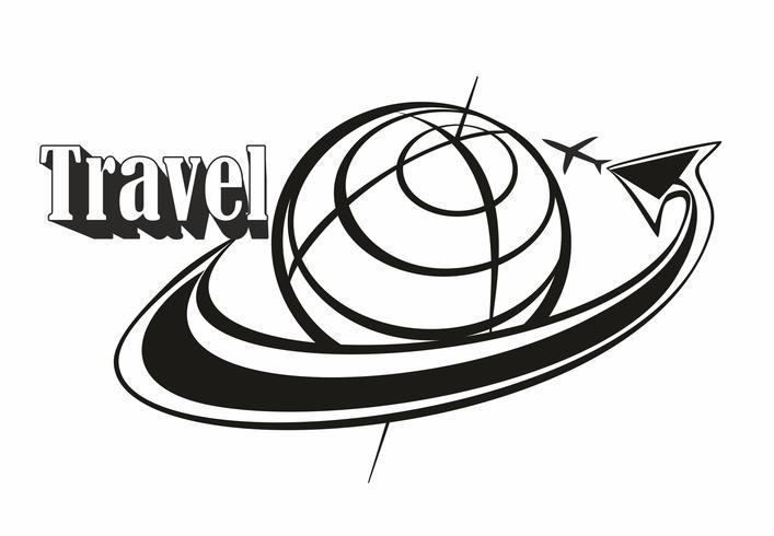 Reizen. Inscriptie. Logo. Over de hele wereld vliegen. Vliegtuigen. Pijl. Concept voor de toeristenindustrie. Zwart wit. Vector. vector