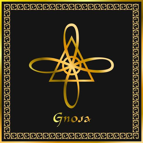 Karuna Reiki. Energie genezing. Alternatief medicijn. Gnosa-symbool. Spirituele oefening. Esoteric. Gouden. Vector