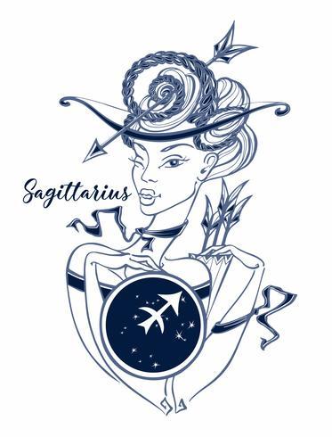 Sterrenbeeld Boogschutter een mooi meisje. Horoscoop. Astrologie. Vector. vector