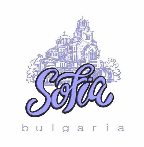 St. Alexander Nevski-kathedraal. Sofia, Bulgarije. Schetsen. Belettering. Toerismeindustrie. Reizen. Vector. vector
