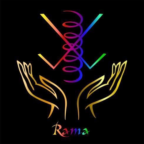 Karuna Reiki. Energie genezing. Alternatief medicijn. Symbool Rama. Spirituele oefening. Esoterische. Open palm. Regenboog kleur. Vector
