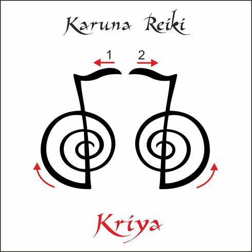 Karuna Reiki. Energie genezing. Alternatief medicijn. Kriya-symbool. Spirituele oefening. Esoteric. Vector