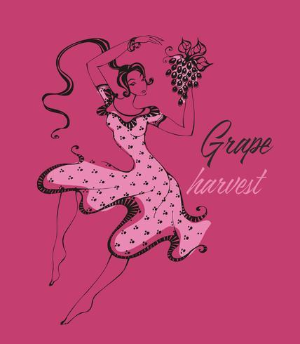 Italiaans meisje dansen, druiven verzamelen. De tijd van de druivenoogst. Wijnindustrie. Italië. Vector. vector
