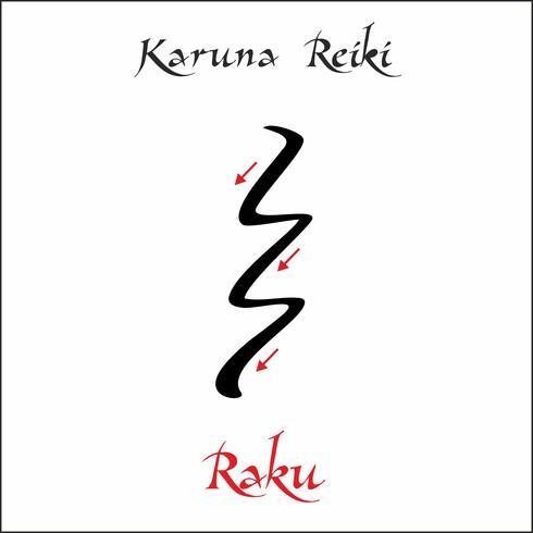 Karuna Reiki. Energie genezing. Alternatief medicijn. Raku-symbool. Spirituele oefening. Esoteric. Vector