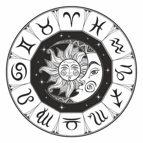 Dierenriem. Astrologisch symbool. Horoscoop. De zon en de maan. Astrologie. Mystiek. Coloring. Vector. vector