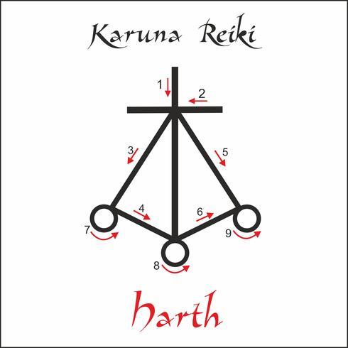 Karuna Reiki. Energie genezing. Alternatief medicijn. Harth-symbool. Spirituele oefening. Esoteric. Vector