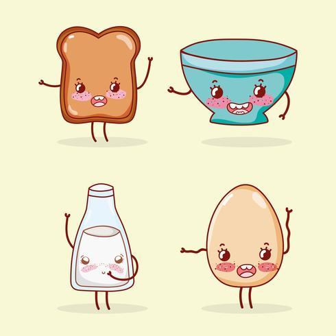 Leuke ontbijtverzameling kawaii cartoons vector